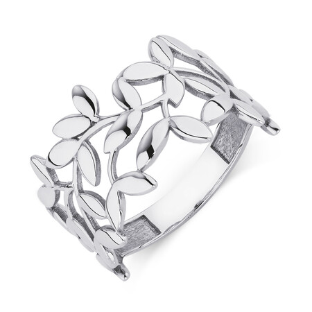 Olive Leaf Ring in 10ct White Gold