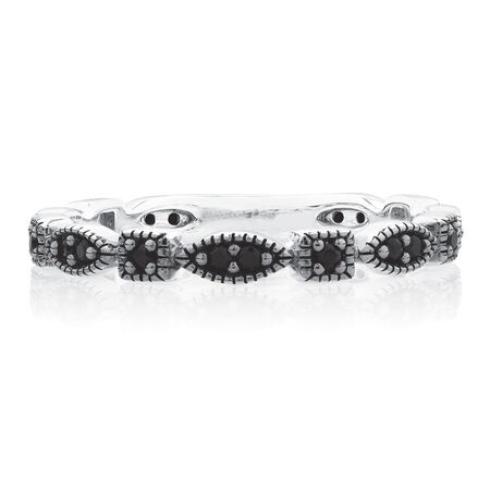 Patterned Stacker Ring with Black Cubic Zirconia in Sterling Silver