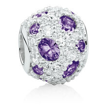 Charm with Purple Crystal & Cubic Zirconia in Sterling Silver