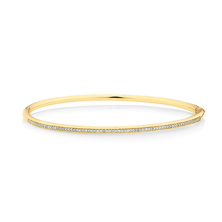 Bangle with 0.25 Carat TW of Diamonds in 10ct Yellow Gold