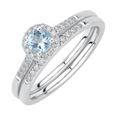 Evermore Bridal Set with Aquamarine & 0.20 Carat TW of Diamonds in 10ct White Gold