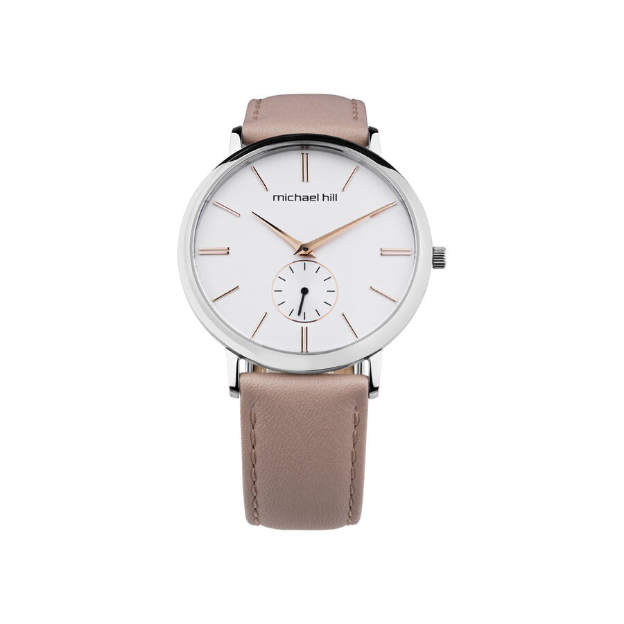 Ladies Watch in Silver Tone Stainless Steel & Peach Leather
