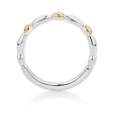Sterling Silver & 10ct Yellow Gold Scalloped Stacker Ring
