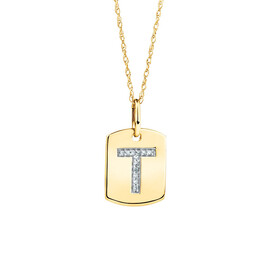 """""""T"""" Initial Rectangular Pendant With Diamonds In 10ct Yellow Gold"""