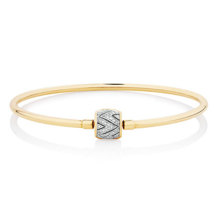 """21cm (8.5"""") Charm Bangle with 1/4 Carat TW of Diamonds in 10ct Yellow Gold"""