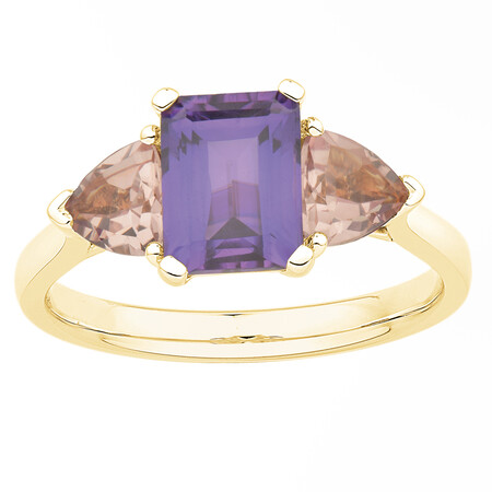 Three Stone Ring with Created Sapphire in 10ct Yellow Gold