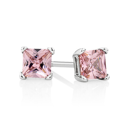Stud Earrings with Pink Cubic Zirconia in Sterling Silver