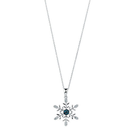 Pendant with White &  Enhanced Blue Diamonds in Sterling Silver