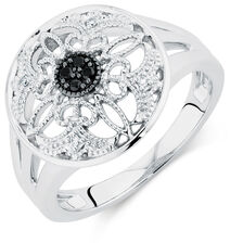 Ring with White & Enhanced Black Diamonds in Sterling Silver