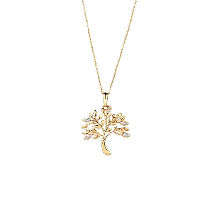 Tree of Life Pendant with Diamonds in 10ct Yellow Gold