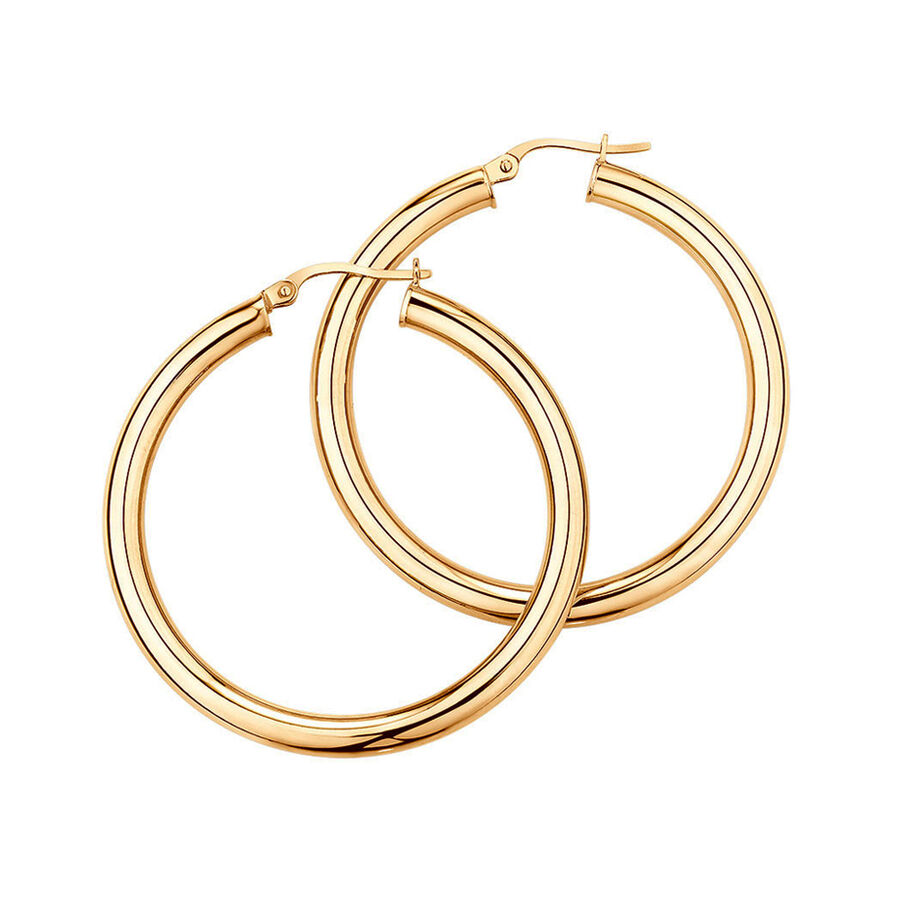 29mm Round Hoop Earrings in 10ct Yellow Gold
