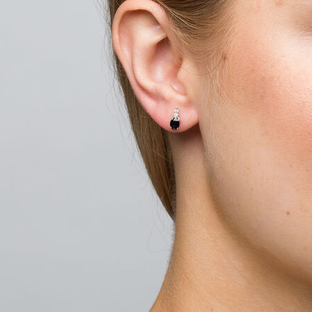 Drop Earrings with Sapphire & Diamonds in 10ct White Gold