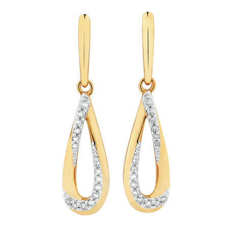 Teardrop Earrings with Diamonds in 10ct Yellow Gold
