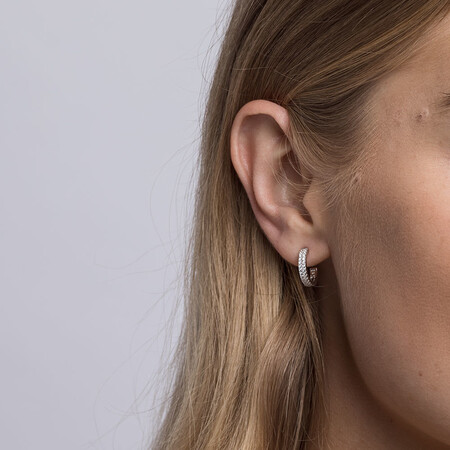 Half Hoops with Cubic Zirconia in Sterling Silver