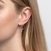 Circle Drop Earrings With Cubic Zirconia In Sterling Silver