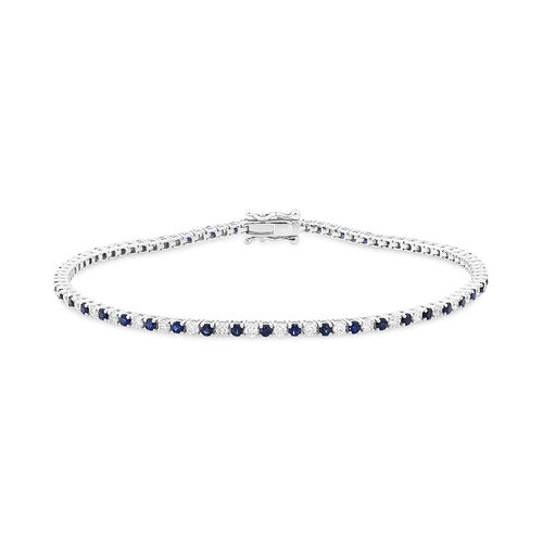 Tennis Bracelet with Natural Sapphire & 1 Carat TW of Diamonds in 10ct White Gold