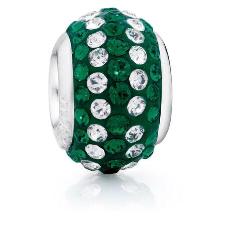 Green & White Crystal Charm