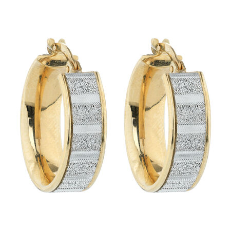 Online Exclusive - Glitter Hoop Earrings in 10ct Yellow Gold