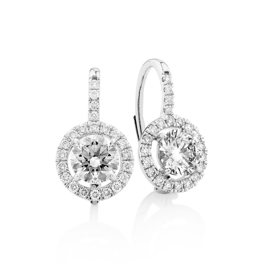 Laboratory-Created 2.00 Carat TW Diamond Earrings in 10ct White Gold