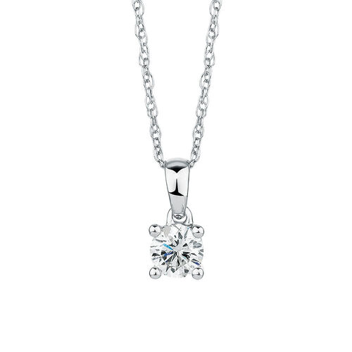 Solitaire Pendant with a 1/4 Carat Diamond in 18ct White Gold