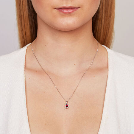 Pendant with Created Ruby & Diamonds in 10ct White Gold