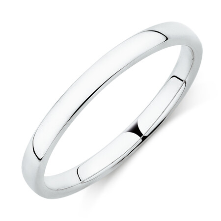 High Domed Wedding Band in 18ct White Gold