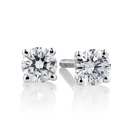 Stud Earrings with 0.34 Carat TW of Diamonds in 14ct White Gold
