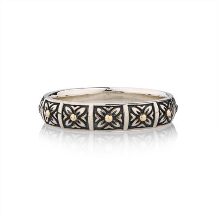 Online Exclusive - Patterned Stacker Ring in 10ct Yellow Gold & Oxidised Sterling Silver