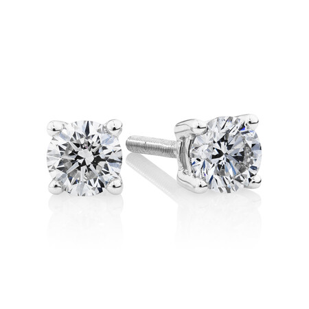 Studs with 0.50 TW of Diamonds in 14ct White Gold