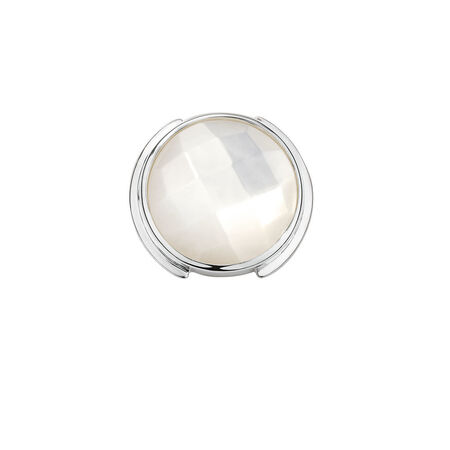 Mini Coin Locket Insert with Mother of Pearl in Sterling Silver