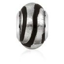 Black & Silver Glass Charm