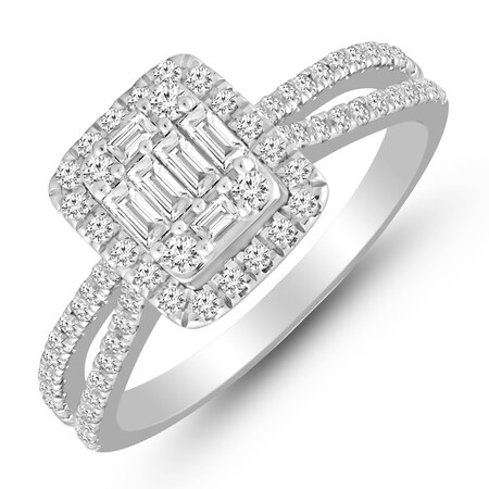 Cluster Ring with 0.70 Carat TW of Diamonds in 14ct White Gold