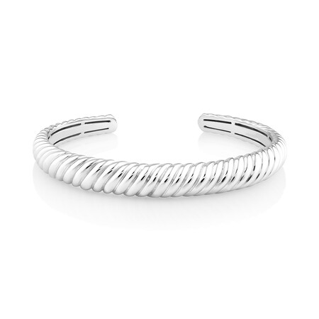 Sculpture Croissant Cuff Bangle In Sterling Silver