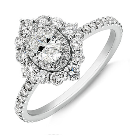 Sir Michael Hill Designer Oval Engagement Ring with 0.92 Carat TW Diamonds in 18ct White Gold