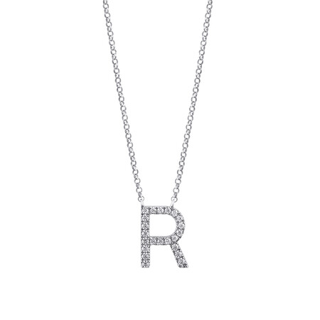 """""""R"""" Initial necklace with 0.10 Carat TW of Diamonds in 10ct White Gold"""