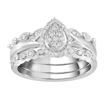 3 Piece Ring Set with 1/4 Carat TW of Diamonds in 10ct White Gold