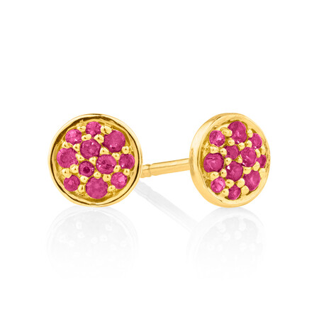 Pave Stud Earrings with Created Ruby in 10ct Yellow Gold
