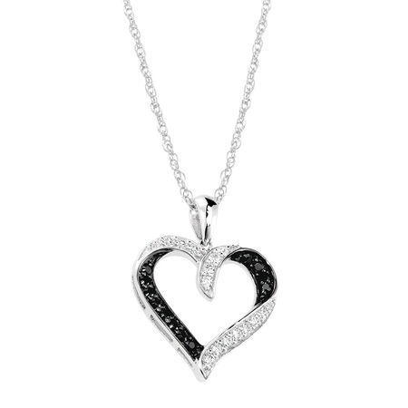 Heart Pendant with Black & White Cubic Zirconias in Sterling Silver