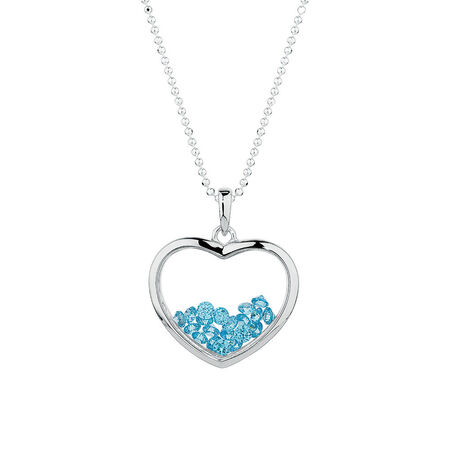 Heart Pendant with Aqua Cubic Zirconias in Sterling Silver