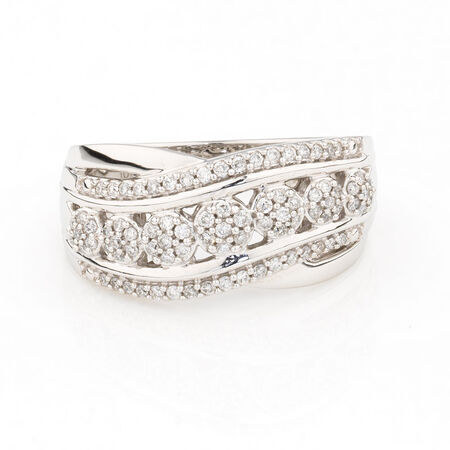 Online Exclusive - Cluster Ring with 0.33 Carat Total Weight of Diamonds in 10ct White Gold