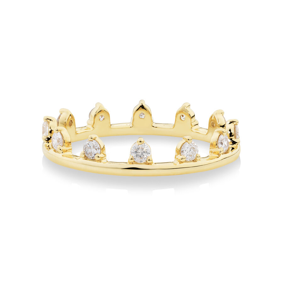 Zipper Ring with 0.41 Carat TW of Diamonds in 10ct Yellow Gold