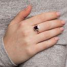 Ring with Rhodolite Garnet & Diamonds in 10ct Rose Gold
