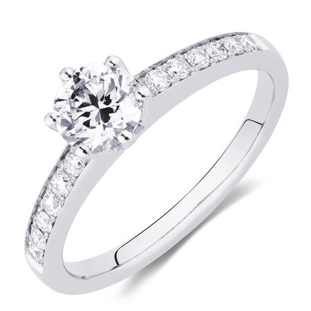 Whitefire Engagement Ring with 0.88 Carat TW of Diamonds in 18ct White & 22ct Yellow Gold