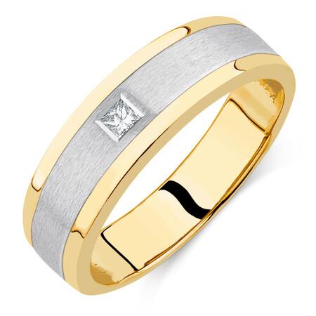 Men's Diamond Set Ring in 10ct Yellow & White Gold