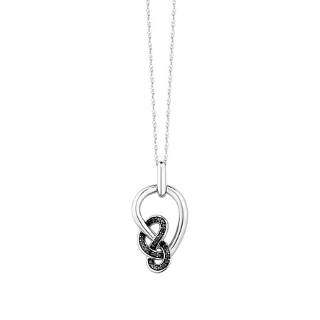 Knots Pendant With 0.12 Carat TW Of Enhanced Black Diamonds In Sterling Silver