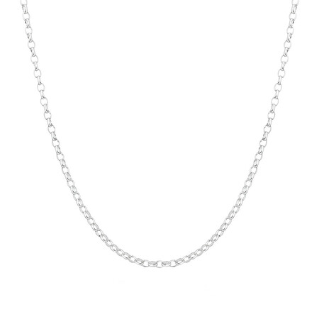 "45cm (18"") Diamond Cut Belcher Chain in 18ct White Gold"