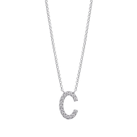 """""""C"""" Initial necklace with 0.10 Carat TW of Diamonds in 10ct White Gold"""