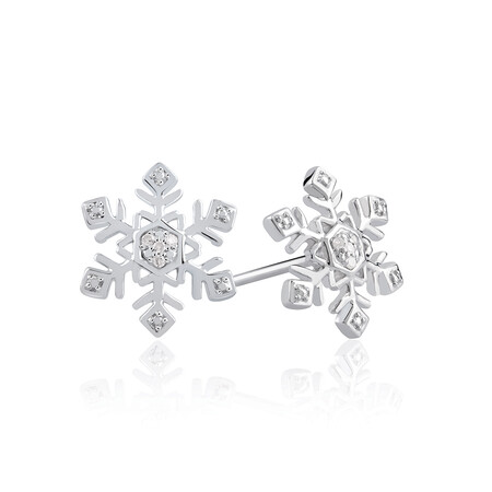 Snowflake Stud Earrings With Diamonds In Sterling Silver