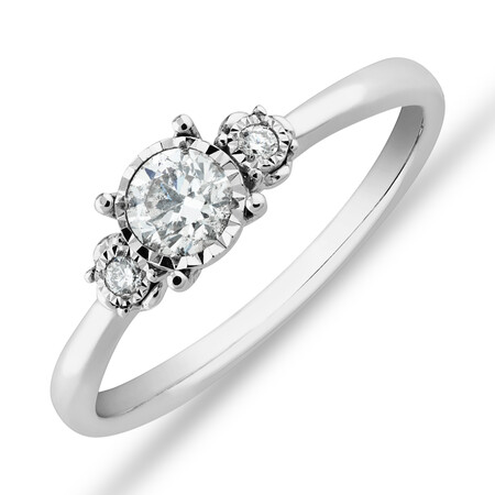 Evermore Three Stone Engagement Ring with 0.33 Carat TW of Diamonds in White Gold