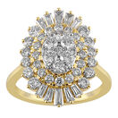 Cluster Ring with 2.00 Carat TW of Diamonds in 10ct Yellow Gold